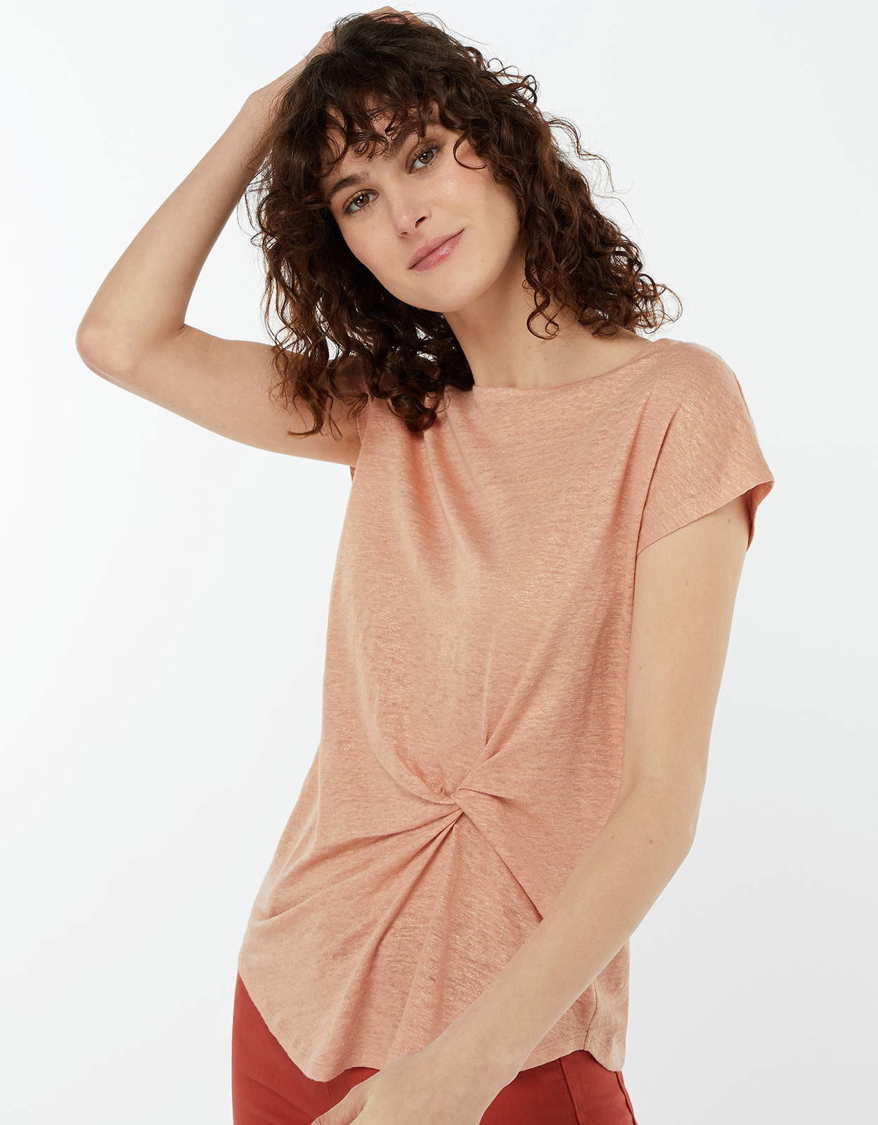 Monsoon Tuppy Twist Front Linen T-Shirt