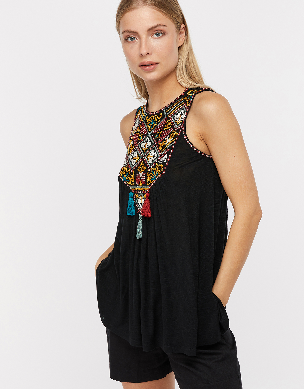 Monsoon Marnie Embroidered Jersey Sleeveless Top