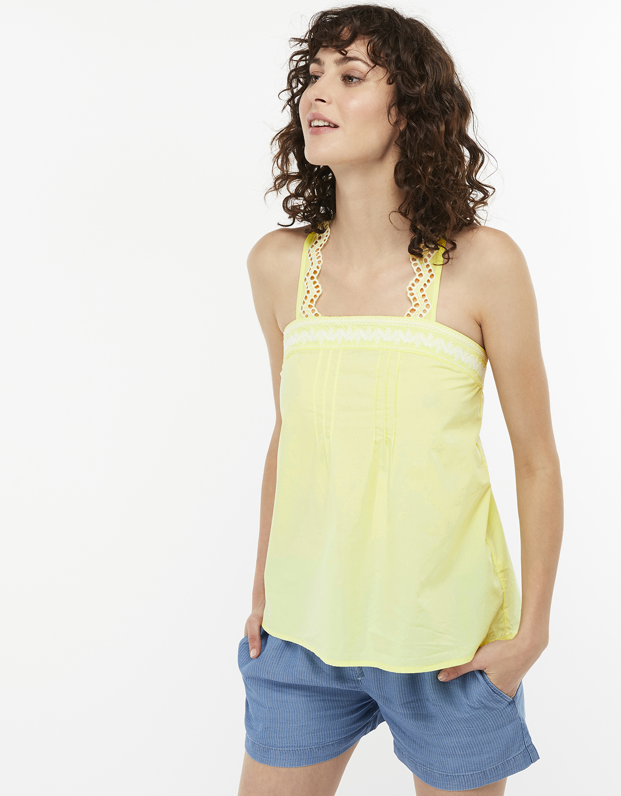 Monsoon Ebony Poplin Cotton Cami Top