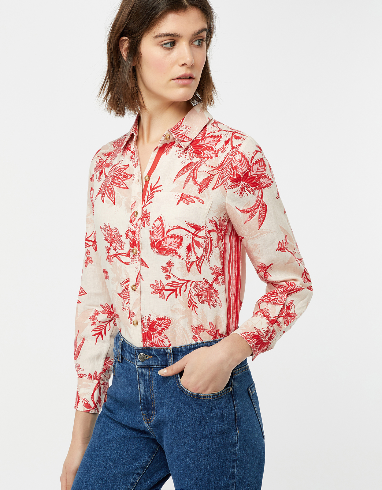 Monsoon Alyssa Print Linen Shirt
