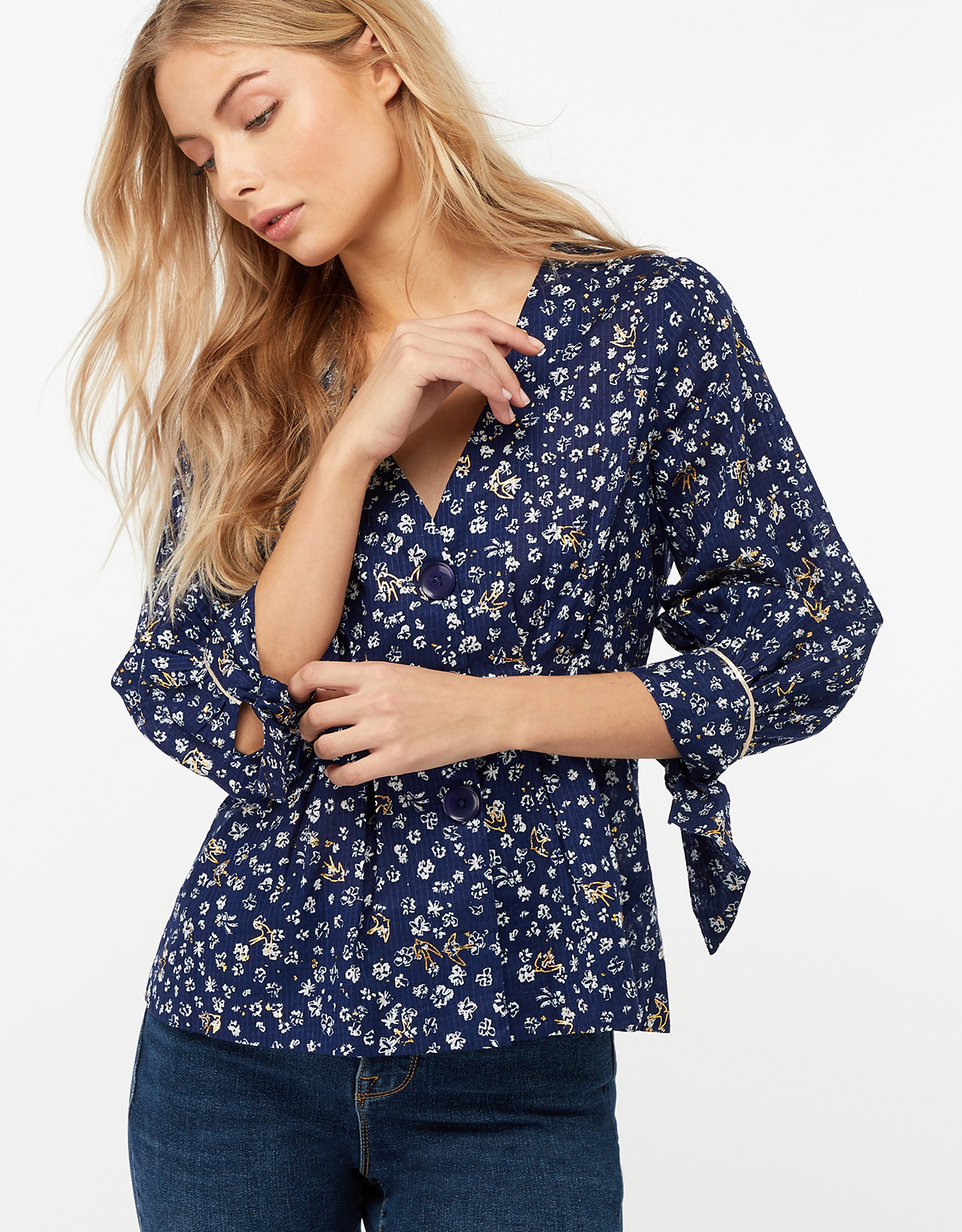 Monsoon Emily Print Cotton Top