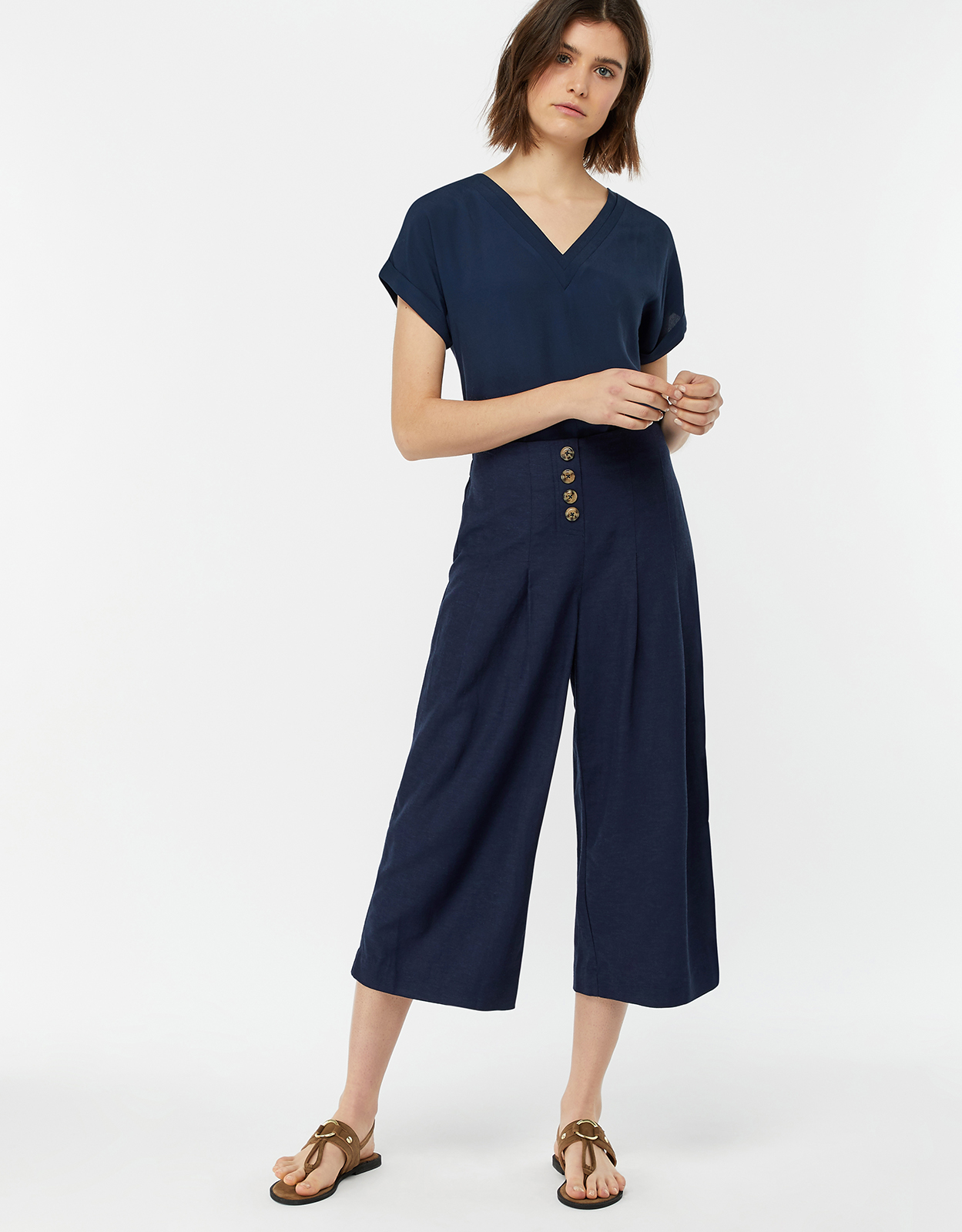 Monsoon Becky Button Front Culottes